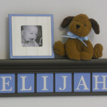 "Nautical Sailboat Nursery Decor Sign 30"" Shelf - 8 Wood Wall Letters Painted Baby Blue and Brown - ELIJAH (sailboat)"