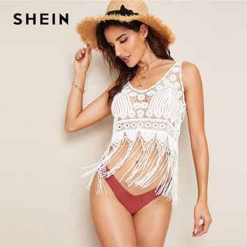 SHEIN White Fringe Hem Guipure Lace Tank Top Without Bandeau Women 2019 Summer Hollow out Sexy Minimalist Basics 2019 Vests
