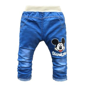 Summer Kids Boy Pants Cartoon Children Baby Clothes Toddler Girls Trousers Fashion Spring Baby Jeans for 2-4 Years Old