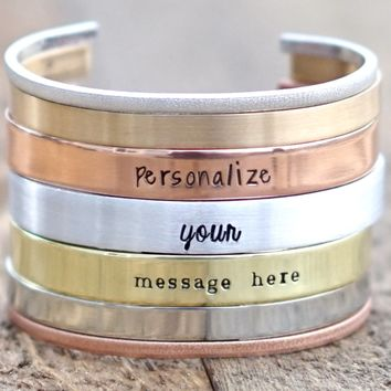 Personalized Cuff Bracelet, Location Jewelry