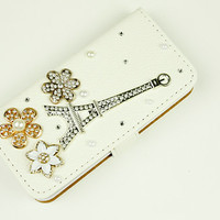 Rhinestone floral phone cases iphone 4 leather case studded iphone 5 leather case iphone 5s flip case iphone 4s flip case iphone 5c wallet