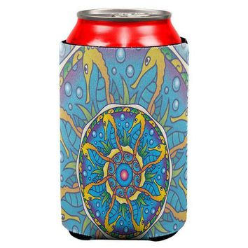 CREYCY8 Mandala Trippy Stained Glass Seahorse All Over Can Cooler
