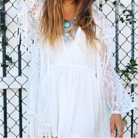 Boho Fringe Lace Kimono Cardigan Tassels Long Sleeve Beach Cover Up Cape Tops Blouses