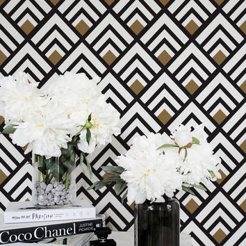 Geometric Removable Wallpaper / Trendy Self Adhesive Removable Wallpaper / Geometric Wall Mural / Art Deco