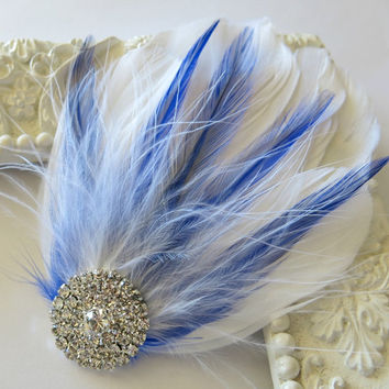 Bridal Wedding , Royal Blue, White Bridesmaid Feather Hair Accessory, Feather Fascinator, Bridal Hair Piece, Lavender Pink Purple  Hair Clip