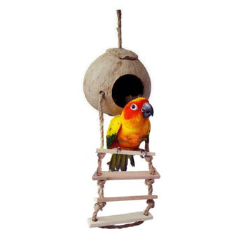 Wood Climbing ladder Pet Bird Ladder Macaw Cockatiel Parrot Hamster Wood Ladder Climb Bell Swing Bite Toy