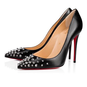 Christian Louboutin Cl Spikyshell Black/dk Gun Leather 18s Pumps 1180046b002 -