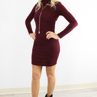 Plain Turtle Neck Backless Long Sleeve Dress