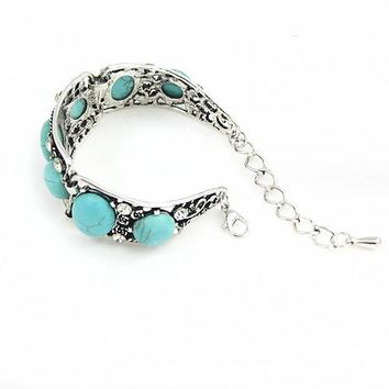 Boho Blue Stone Bracelet for Women