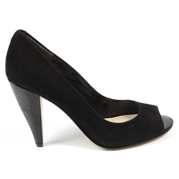 Nine West Womens Pump Open Toe Nwhealth Black Suede
