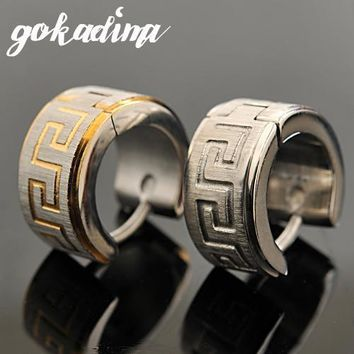 Gokadima Greek Key Stainless Steel Earrings, PUNK ROCK Stud Earrings Men 2016 Fashion Jewelry,