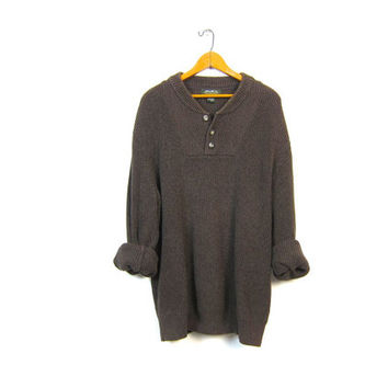 Dark Brown Knit Henley Sweater Button Up Boyfriend Pullover Oversized Slouchy 90s Ribbed Knit Sweater Vintage Men's Extra Large XL Tall