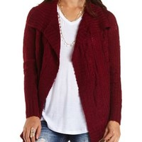 Mixed Stitch Cascade Cardigan Sweater by Charlotte Russe - Oxblood