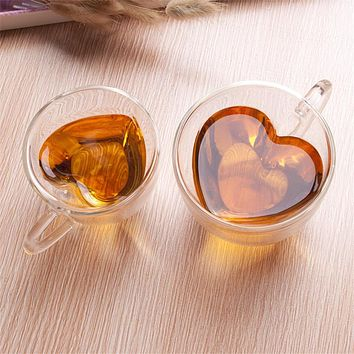 Heart Shaped Double Walled Glass Mug