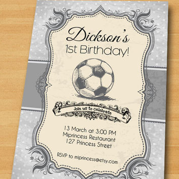 Soccer Birthday Invitation, Vintage Retro Football Birthday Party invitation Soccer 1st 2nd 3rd 4th 5th 6th 7th 8th 9th 10th - card 162