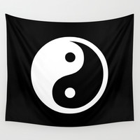 Yin Yang Black White Wall Tapestry by Beautiful Homes