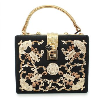 Clutches Evening Bag gold luxury had purse (C028)