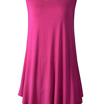 Women Plus Size Solid Basic Flowy Tank Tops Summer Sleeveless Tunic