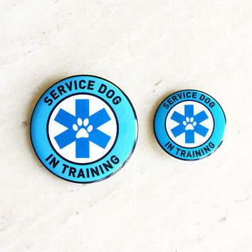Service Dog in Training - Metal badge for vests, harnesses, leashes, and other service dog gear. Great alternative to patches.