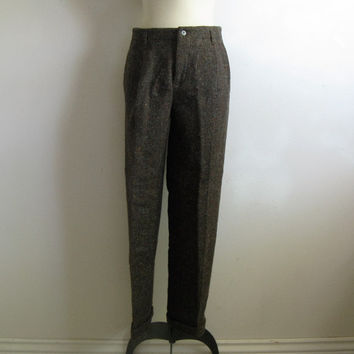 Wool 80s Polo Ralph Lauren Pants Vintage 1980s Womens Brown Tweed Wool Trouser 30