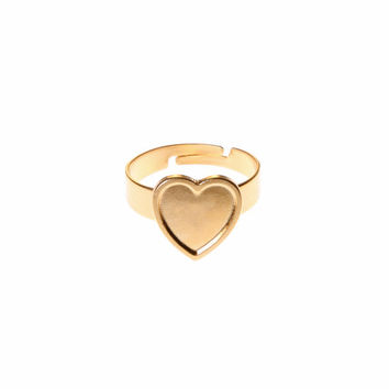Heart ring - 24k gold plated