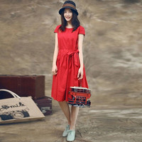Red Polka Dot Print Bow Tie A-Line Dress