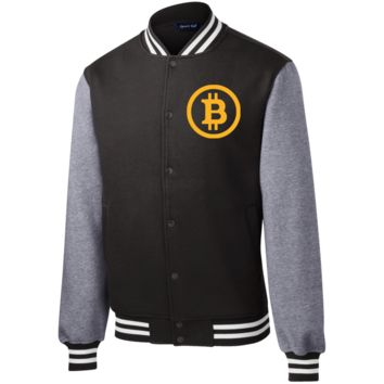ST270 Sport-Tek Fleece Letterman Jacket/ Bitcoin Circle Logo
