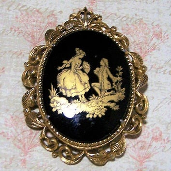 Florenza Fragonard Rococo Pin, Black Gold Glass Cabochon, Romantic Baroque Brooch, Mid Century Jewelry, Vintage Costume Jewellery 118