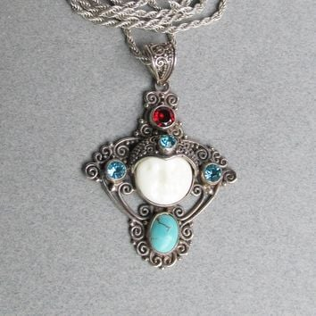 FINE Balinese Sterling Silver, Carved Bone Moon Face Vintage Pendant Necklace with Turquoise, Blue Topaz & Garnet