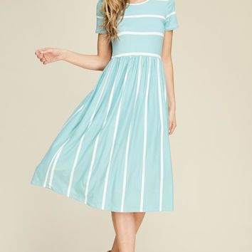 short sleeve wide striped fit and flared midi dress