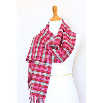 Woven tartan scarf in pink fuchsia and blue colors, long scarf with fringe