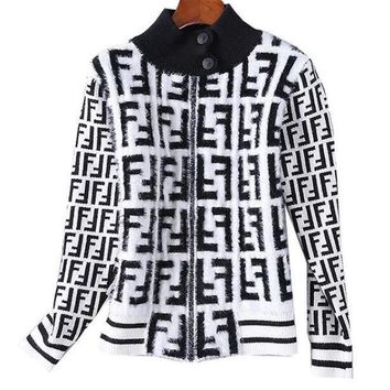 FENDI Autumn Winter Classic Fashion Women Casual Half High Collar Mohair Knit Cardigan Jacket Coat White I13881-1