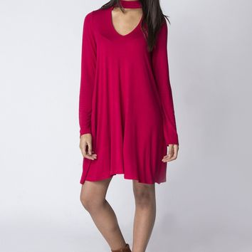 Choker Swing Dress With Pockets