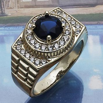 Gold Layered Men Mens Ring, with Tanzanite Cubic Zirconia, by Folks Jewelry