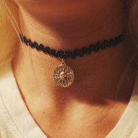 Double Sided Gold Zodiac Sun And Moon Henna Tattoo Stretch Choker Necklace