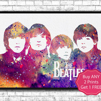 Beatles 2 Watercolor Print Art Illustration The Beatles Poster John Lennon Paul Mccartney Wall Hanging Giclee Home Decor Modern Music Poster