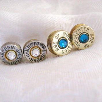 Ammo Bullet Earrings - Bullet Casing with Swarovski Crystals - 9mm or any other size