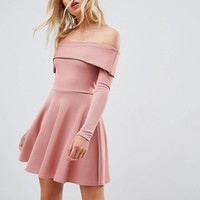 ASOS PREMIUM Heavy Rib Bardot Skater Dress at asos.com