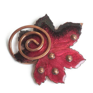 Matisse Red Enamel Copper Leaf Brooch Vintage
