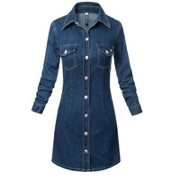 GCAROL Women Single-Breasted Button Denim Dress Fashion Slim Jeans Dress Two Pockets Sexy Dress