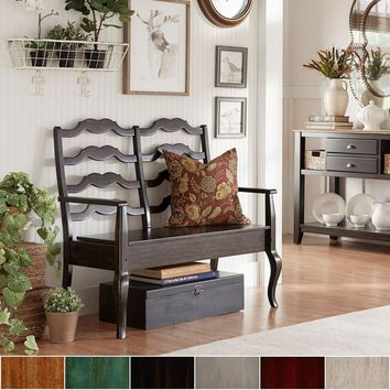 French Ladder Back Wood Storage Bench by iNSPIRE Q Classic