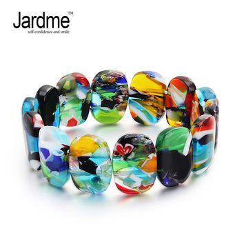 Jardme Magical Murano Glass Bracelet for Women Murano Inspiration Mixed Color Lyrics Valentine's Day Wedding Jewelry