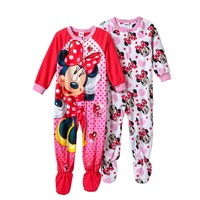 Disney's 2-pk. Minnie Mouse Heart Fleece Footed Pajamas - Toddler Girl, Size: