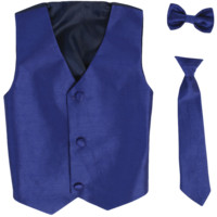 Royal Blue Poly-Silk Boys Vest & Tie Set 3M-14
