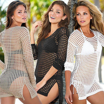 Lace White Cover Ups Swimsuit Swimwear
