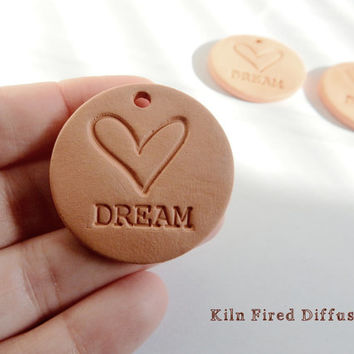 Dream, Spiritual Jewelry, Yoga Pendant, Aromatherapy Essential Scented Oil Diffuser, Round Terracotta Bisque Ceramics Unglazed,