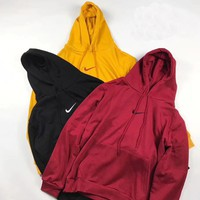 Nike Fashion Hooded Pullover Sweatshirt Top Sweater Yellow