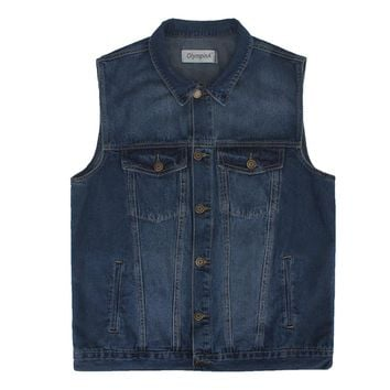 Denim Vest  Men's Spring Autumn Sleeveless Jacket Travel Vests Male With Many Pockets Plus Size Waistcoat Coat for men