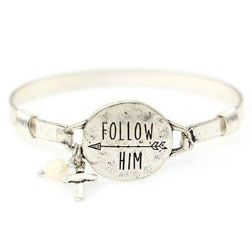 "SHIP BY USPS ""Follow Him"" Christian Bangle Disc Bracelet with Wire Design and Cross Charm and Bead"