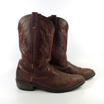 Brown Cowboy Boots Vintage 1980s Distressed Western Men's size 13 EE